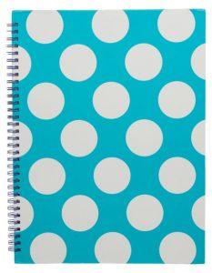 Blue polka dot notebook
